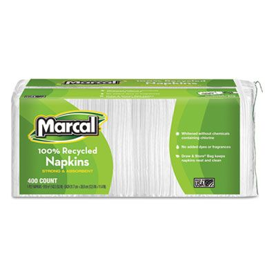 "Marcal 6506 Paper Luncheon Napkins, 1 Ply, 12-1/2"" x 11-1/4"", White - 2400 / Case"