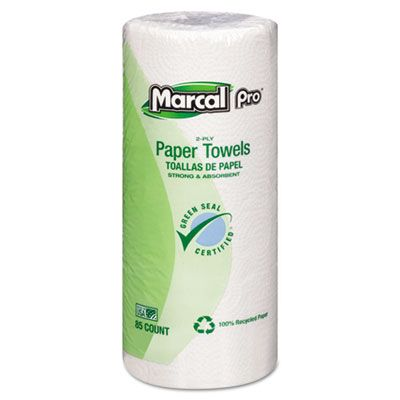 "Soundview Marcal 6350 Pro Kitchen Paper Towels, 2 Ply, 9"" x 11"" Perforated Sheets, 85 / Roll - 30 / Case"
