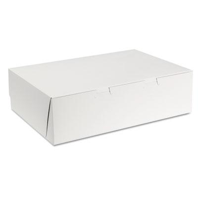 "Southern Champion 1025 Paper 1/4 Sheet Cake Bakery Boxes, Tuck Top, 14"" x 10"" x 4"", White - 100 / Case"