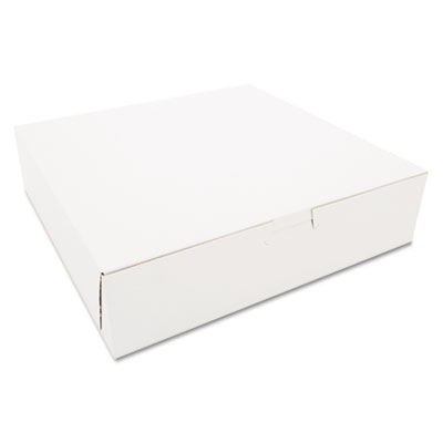 "Southern Champion 969 Paper Bakery Boxes, Tuck Top, 10"" x 10"" x 2.5"", White - 250 / Case"