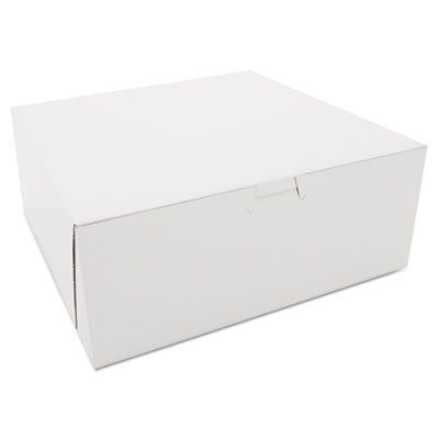 "Southern Champion 973 Paper Cake Bakery Boxes, 10"" x 10"" x 4"", White - 100 / Case"