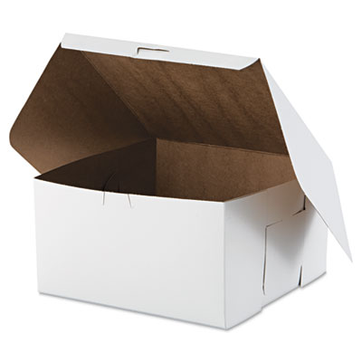 "Southern Champion 977 Paper Bakery Cake Boxes, Tuck-Top, 10"" x 10"" x 5.5"", White - 100 / Case"