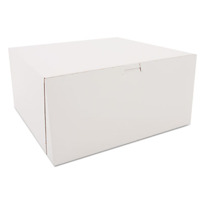"Southern Champion 989 Paper Bakery Cake Boxes, Tuck-Top, 12"" x 12"" x 6"", White - 50 / Case"