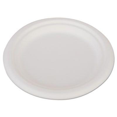 "Southern Champion Tray 18110 ChampWare 6"" Bagasse Plates, White - 1000 / Case"