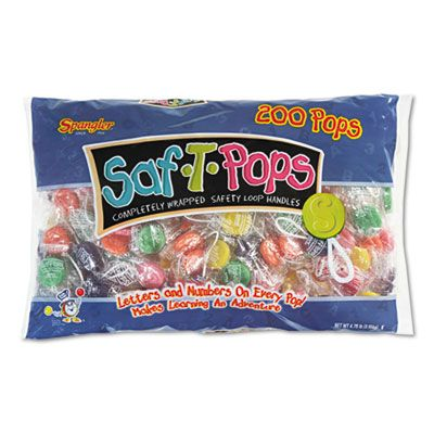 Spangler 182 Saf-T-Pops Lollipops, Assorted Flavors, Individually Wrapped - 200 / Case