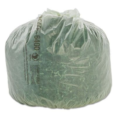 "Stout E2430E85 EcoSafe 13 Gallon Compostable Trash Can Liners / Garbage Bags, 0.85 Mil, 24"" x 30"", Green - 45 / Case"