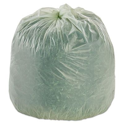 "Stout E3348E85 32 Gallon Compostable Trash Can Liners / Garbage Bags, 0.85 Mil, 33"" x 48"", Green - 50 / Case"
