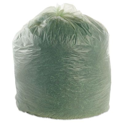 "Stout E4860E85 EcoSafe 64 Gallon Compostable Trash Can Liners / Garbage Bags, 0.85 Mil, 48"" x 60"", Green - 30 / Case"