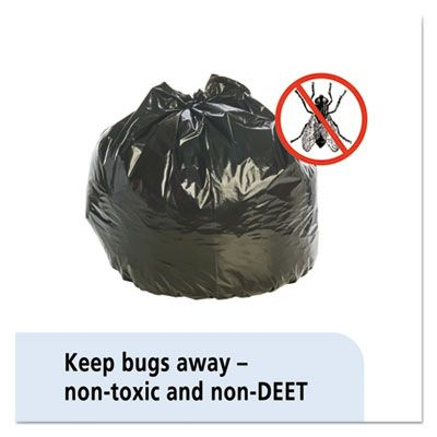 "Stout P3345K20 35 Gallon Insect Repellent Trash Can Liners / Garbage Bags, 2 Mil, 33"" x 40"", Black - 80 / Case"