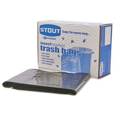 "Stout P3752K20 55 Gallon Insect Repellent Trash Can Liners / Garbage Bags, 2 Mil, 40"" x 45"", Black - 65 / Case"