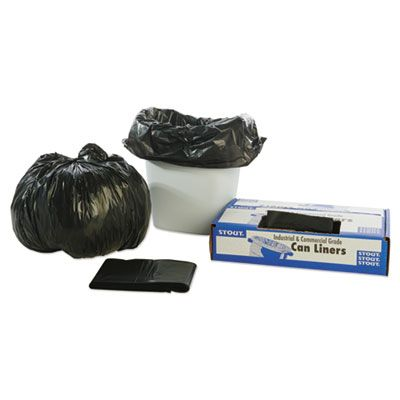 "Stout T2424B10 10 Gallon Recycled Trash Bags, Recycled, 1 Mil, 24"" x 24"", Brown - 250 / Case"
