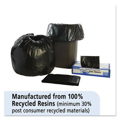 "Stout T3039B13 30 Gallon Trash Can Liners / Garbage Bags, Recycled, 1.3 Mil, 30"" x 39"", Black / Brown - 100 / Case"