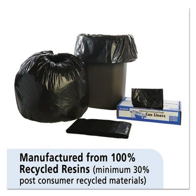 "Stout T3340B13 33 Gallon Trash Can Liners / Garbage Bags, Recycled, 1.3 Mil, 33"" x 40"", Black / Brown - 100 / Case"