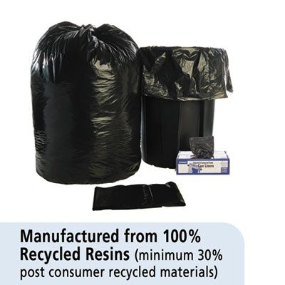 "Stout T3658B15 60 Gallon Trash Can Liners / Garbage Bags, Recycled, 1.5 Mil, 36"" x 58"", Black / Brown - 100 / Case"