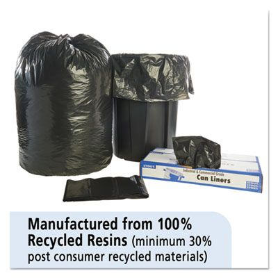 "Stout T3860B15 60 Gallon Trash Can Liners / Garbage Bags, Recycled, 1.5 Mil, 38"" x 60"", Black / Brown - 100 / Case"