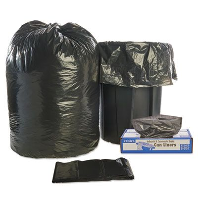 "Stout T4349B15 56 Gallon Trash Can Liners / Garbage Bags, Recycled, 1.5 Mil, 43"" x 49"", Black / Brown - 100 / Case"