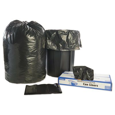 "Stout T5051B15 65 Gallon Trash Can Liners / Garbage Bags, Recycled, 1.5 Mil, 50"" x 51"", Black / Brown - 100 / Case"