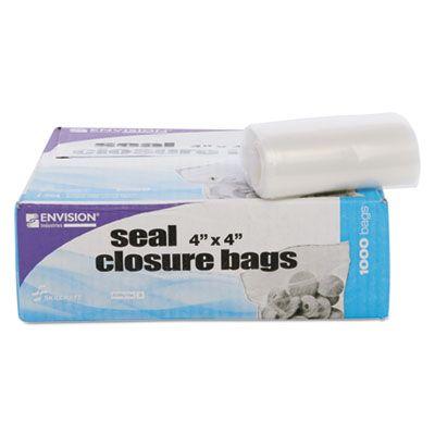 "Stout ZF001C Zip-Seal Closure Plastic Bags, 4"" x 4"", Clear - 1000 / Case"