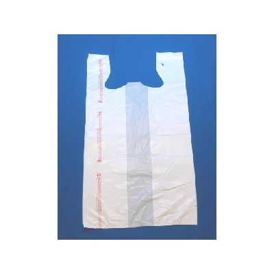 "T-Sacks 11-10357 Plastic 1/6 Size T-Shirt Bags, Printed Warning, 12"" x 7"" x 22.75"", White - 1000 / Case"