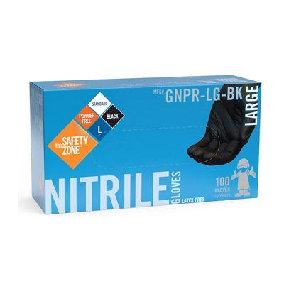 The Safety Zone GNPR-LG-BK Nitrile Gloves, Powder Free, Large, Black - 1000 / Case