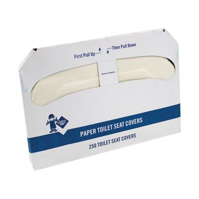 The Safety Zone TSC-250E Toilet Seat Covers, Half-Fold, White - 5000 / Case