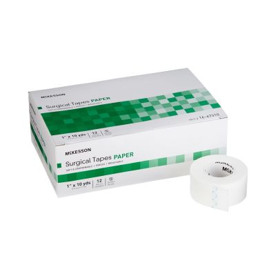 """McKesson 16-47310 Surgical Medical Tape, Air Permeable Paper, 1"""" x 10 Yds Roll, White, NonSterile - 144 / Case"""