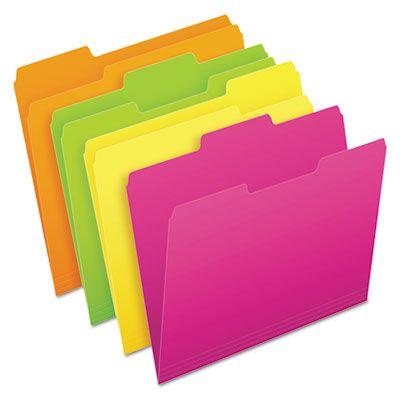 Pendaflex 40523 Glow File Folders, 1/3 Cut Top Tab, 11 pt, Letter, Neon Green / Orange / Pink, Yellow - 48 / Case