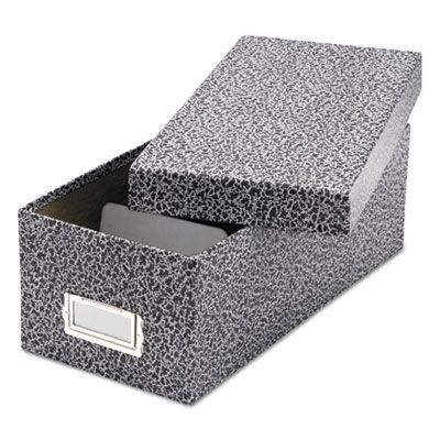 """TOPS 40588 Oxford Reinforced Board Card File, Lift-Off Cover, Holds 1,200 3"""" x 5"""" Cards, Black / White - 1 / Case"""