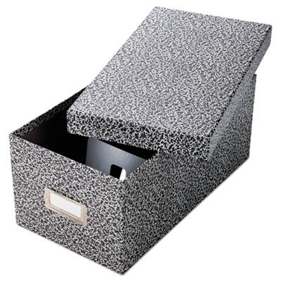 """TOPS 40589 Oxford Reinforced Board Card File, Lift-Off Cover, Holds 1,200 4"""" x 6"""" Cards, Black / White - 1 / Case"""