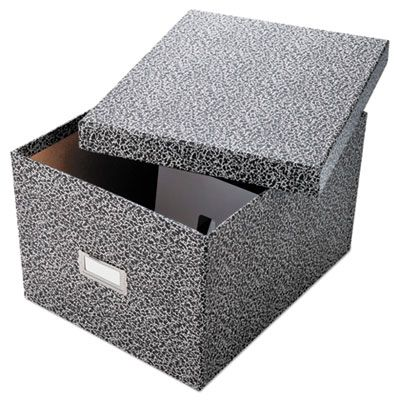 """TOPS 40591 Oxford Reinforced Board Card File, Lift-Off Cover, Holds 1,200 6"""" x 9"""" Cards, Black / White - 1 / Case"""