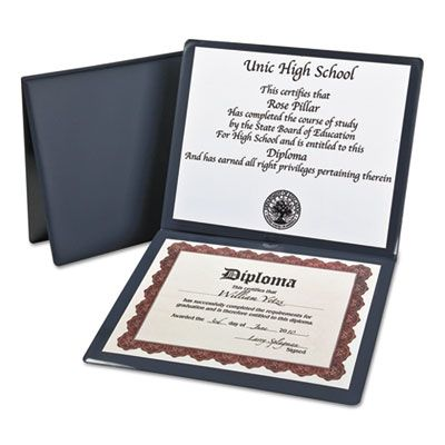 "TOPS 44212 Oxford Diploma Cover, Vinyl, 12-1/2"" x 10-1/2"", Navy Blue - 1 / Case"
