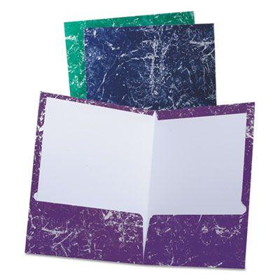 TOPS 50190 Oxford Marble High Gloss Portfolio Folders, Charcoal, Green, Navy, Purple - 25 / Case