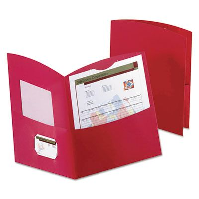 TOPS 5062558 Oxford Contour Two-Pocket Folder, Recycled Paper, 100-Sheet Capacity, Red - 25 / Case