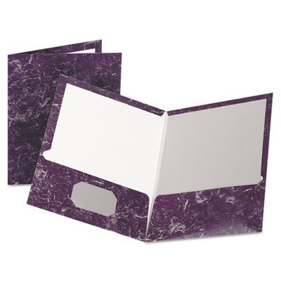 TOPS 51626 Oxford Marble Design Laminated Paper High-Gloss Twin Pocket Folder, Purple - 25 / Case