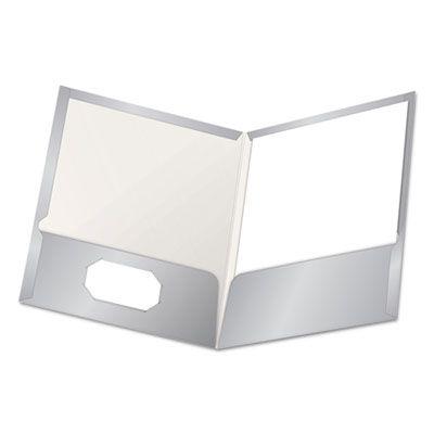 TOPS 51705 Oxford High Gloss Laminated Paperboard Folder, 100-Sheet Capacity, Gray - 25 / Case