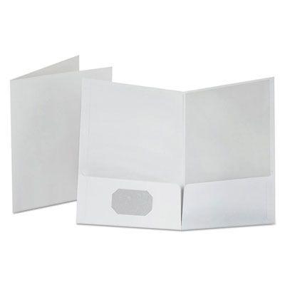 TOPS 53404 Oxford Linen Finish Twin Pocket Folders, Letter Size, White - 25 / Case