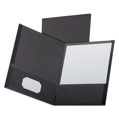 TOPS 53406 Oxford Linen Finish Twin Pocket Folders, Letter Size, Black - 25 / Case
