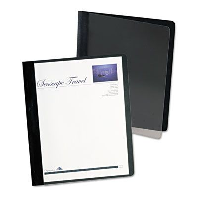 TOPS 5354005X Oxford Extra-Wide Clear Front Report Covers, Letter Size, Black - 25 / Case