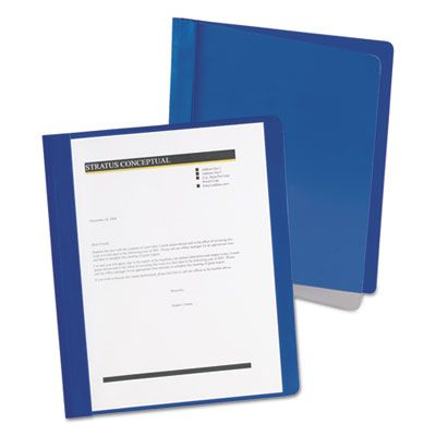 TOPS 5354023X Oxford Extra-Wide Clear Front Report Covers, Letter Size, Dark Blue - 25 / Case