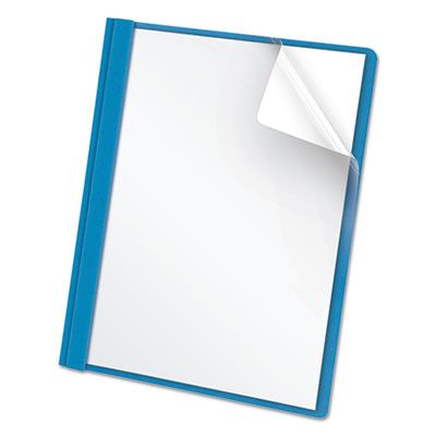 """TOPS 55801 Oxford Clear Front Report Cover, 3 Fasteners, Letter Size, 1/2"""" Capacity, Blue - 25 / Case"""