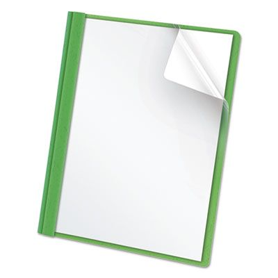 """TOPS 55807 Oxford Clear Front Report Cover, 3 Fasteners, Letter Size, 1/2"""" Capacity, Green - 25 / Case"""