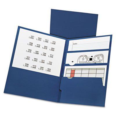 TOPS 57401 Oxford Divide It Up Four-Pocket Paper Folders, Letter Size, Navy Blue - 20 / Case