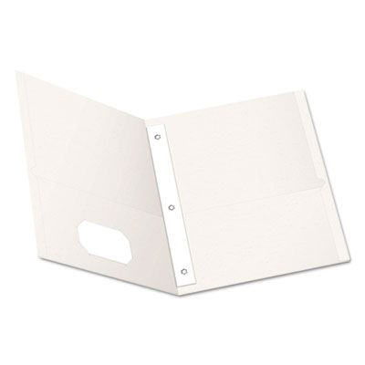 """TOPS 57704 Oxford Twin-Pocket Folders with 3 Fasteners, Letter Size, 1/2"""" Capacity, White - 25 / Case"""