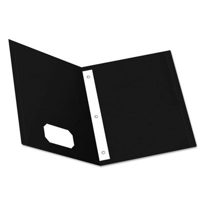 """TOPS 57706 Oxford Twin-Pocket Folders with 3 Fasteners, Letter Size, 1/2"""" Capacity, Black - 25 / Case"""