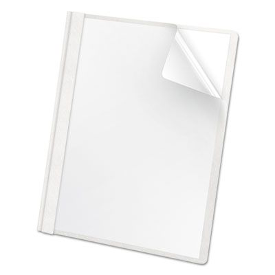 TOPS 58804 Oxford Premium Paper Clear Front Report Cover, 3 Fasteners, Letter Size, White - 25 / Case