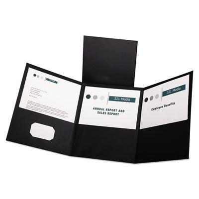TOPS 59806 Oxford Tri-Fold Folder with 3 Pockets, Holds 150 Letter-Size Sheets, Black - 20 / Case