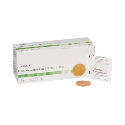 "McKesson 16-4812 Fabric Spot Adhesive Bandages, 1"" Round, Tan, Sterile - 2400 / Case"