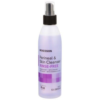 McKesson 53-28013-8 Perineal & Skin Cleaner, No Rinse, Liquid, 8 oz Pump Bottle, Fresh Scent - 48 / Case