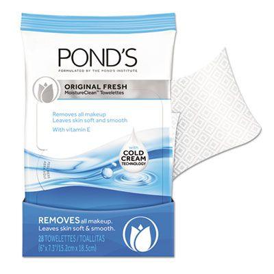 Unilever 11933 Pond's MoistureClean Make Up Remover Towelettes, Original, 28 / Pack, White - 12 / Case
