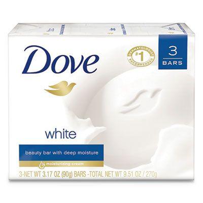 Unilever 4090 Dove Beauty Bar, Light Scent, 3 / Pack, 3.17 oz, White - 12 / Case